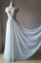 OFF WHITE Chiffon Maxi Skirt Plus Size White Wedding Skirt Chiffon Brida... - $53.99