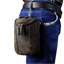 Men Vintage Small Hook Messenger Bag Genuine Leather Fanny Waist Bag Pac... - $36.50