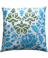 Pillow Decor - Bohemian Damask Blue, White and Olive Throw Pillow - $36.95