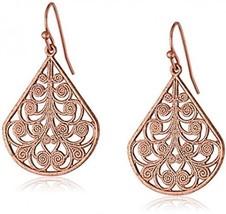 1928 Jewelry Rose Gold-Tone Vine Filigree Earrings - $30.42