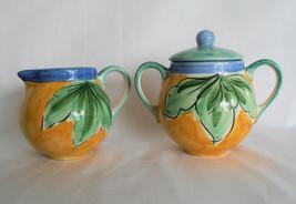Sugar Bowl & Creamer Frulos Grapes by Studio Nova Hand Painted Portugal NEW! - $49.95