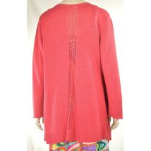Eileen Fisher sweater cardigan SZ L soft red 100% linen knit pockets soft long s image 7