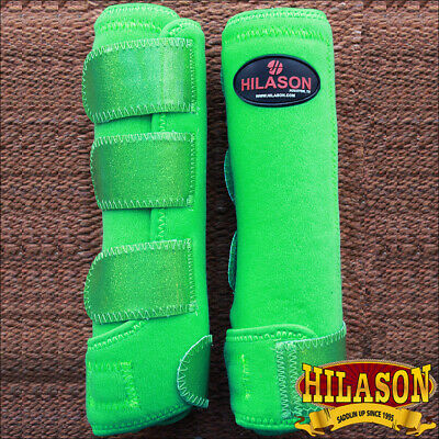 Primary image for Large Hilason Glitter Green Horse Front Leg Ultimate Sports Boot Pair U-RN-L