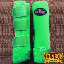 Large Hilason Glitter Green Horse Front Leg Ultimate Sports Boot Pair U-RN-L - $49.95