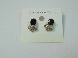 "Charter Club  3/4"" Gold Tone  Jet Simulated Diamond Button Stud Earrings LM534 - $10.55"