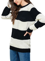 Women's Oversized Long Sleeve Colorful Chunky Knitted Casual Pullover Sweater image 10
