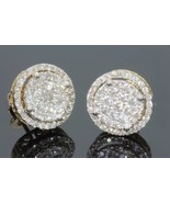 14K Yellow Gold Finish Round Diamond Stud Women's' Earrings Silver 925 - $79.99