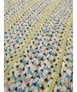 HANDMADE THROW vintage afghan crochet blanket granny MADE IN USA long 37x75 - $20.29