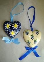Lot (2) Manufaktura Handcrafted Polish Pottery Blue/White Heart Ornament... - $11.66