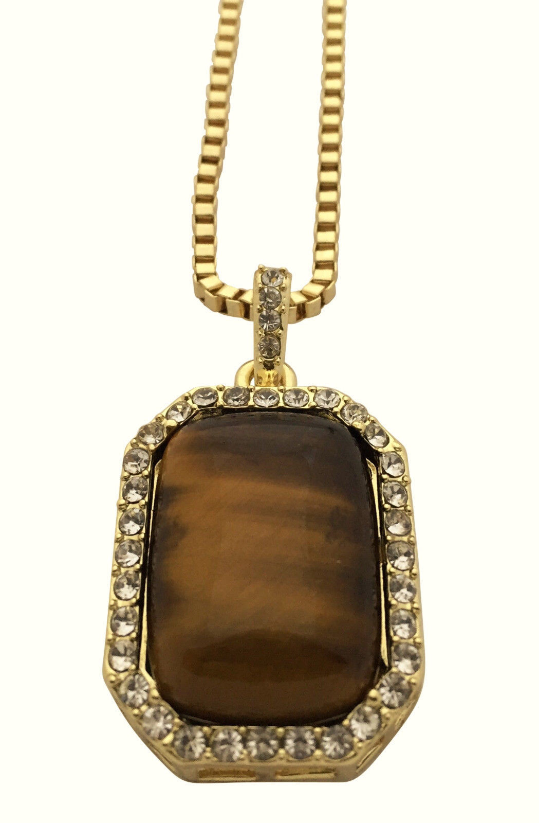 "14K Gold Plated Iced Brown Tiger Eye Rectangular Pendant Necklace 30"" Box Chain"