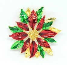 GERRY'S Christmas Poinsettia Brooch Pin Gold Tone Enamel Vintage - $19.79