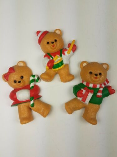 Vintage Hallmark Christmas Magnet Set of 3 Bears Drumming Candy Cane Presents