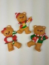 Vintage Hallmark Christmas Magnet Set of 3 Bears Drumming Candy Cane Pre... - $9.85