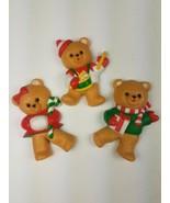 Vintage Hallmark Christmas Magnet Set of 3 Bears Drumming Candy Cane Pre... - $9.85