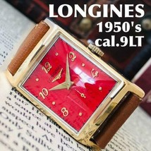 Rare! LONGINES rectangular men's watch red dial gold - $502.91