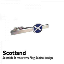 round coin shape saltire, scotland flag design enamel finish,on silver tie clip