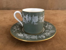 Wedgwood Fieldfare Vintage Cup and Saucer coffee tea lot demitasse olive green - $42.50