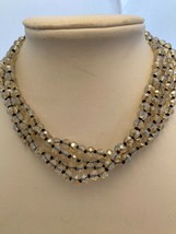 """56"""" Aurora Borealis knotted 6mm Crystal Necklace strung on Brown thread - $19.55"""