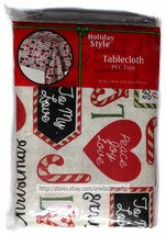 """HOLIDAY STYLE* 52"""" x 70"""" CHRISTMAS TABLECLOTH Flannel Back PVC FREE Cand... - $4.96"""