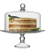 Glass Cake Stand w Dome, Sparkling Glass Elegant Home Display w 360 Degr... - $97.46