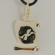 18K YELLOW GOLD ZODIAC SIGN MEDAL PISCES PARCHMENT ENGRAVABLE MADE IN ITALY image 1