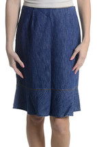 Sz 2 Ann Taylor Cotton Pencil Skirt Ruffle Hem Chambray Light Denim Rigid - $39.59