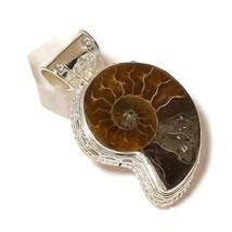 Large Ammonite Fossil Gemstone 925 Silver Overlay Handmade Vintage Style Pendant - $16.95