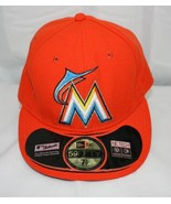 Miami Marlins Baseball Cap ~  Orange with Embroidered Logo ~ Size 7-1/2 - $11.39