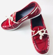 Cole Haan 1928 Women's Patent Leather Shoes Sz 8.5 Red Slip On Loafer Shoe - $24.74