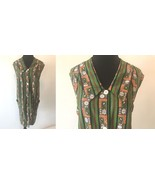 Vintage 1960s Green Brown Orange Paisley Striped Floral Shift Dress size... - $24.95