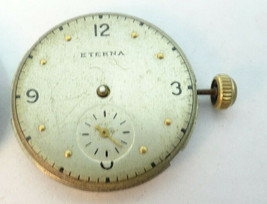 VINTAGE ETERNA BUMPER AUTO SUB SECONDS DIAL AND MOVEMENT FOR YOU TO FIX ... - $91.92