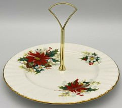 Royal Albert Poinsettia Round Serving plate with handle (SP) - $20.00