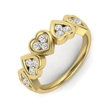 Beautiful Love Heart Ring Many Heart Love Ring 14k Yellow Gold Diamond R... - $439.99