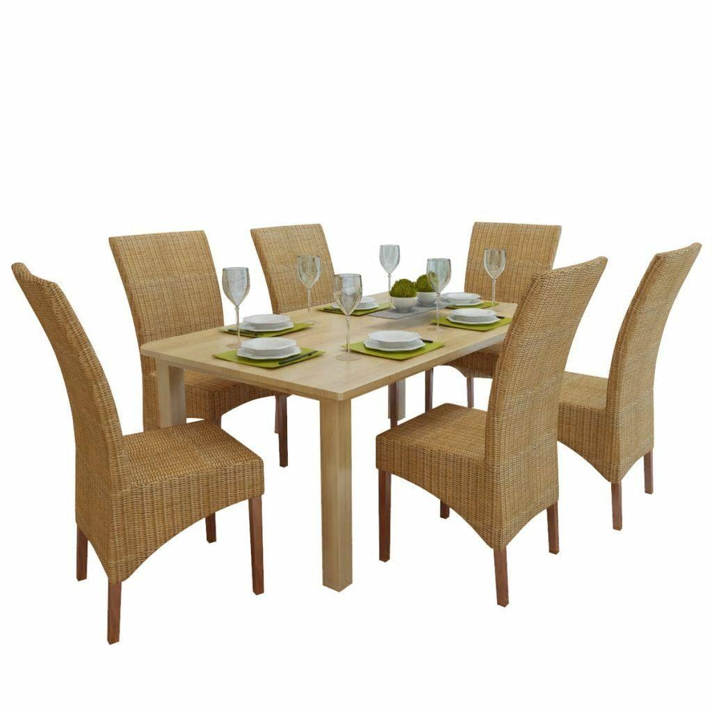 vidaXL 2/4/6x Dining Chair Rattan Brown Handwoven Kitchen Furniture Home Seat