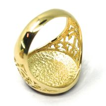 18K YELLOW GOLD BAND MAN RING, NAUTICAL ANCHOR, FLAGS, ENAMEL, COMPASS WIND ROSE image 4