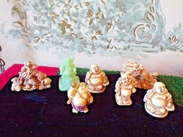 LOT of 7 miniature White resin Buddha Figuerines-1 green - $24.75