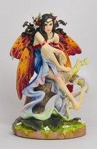December Glow Winter Winged Fairy Sitting on a Tree Statue Figurine - $26.73