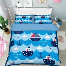 3D Sea Boats 325 Bed Pillowcases Quilt Duvet Cover Set Single Queen King Size AU - $64.32+
