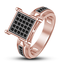 Round Cut Black CZ 14k Rose Gold Plated 925 Silver Engagement Anniversar... - $80.30