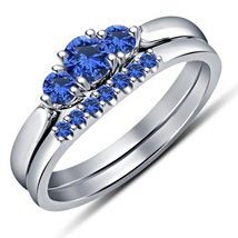 14k White Gold Over Round Cut Blue Sapphire Women's Bridal Engagement Ring Set  - $44.99