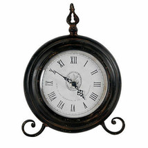 "Antiqued Metal Table Clock 9""x2""x11.5"" - 32566 - $49.49"
