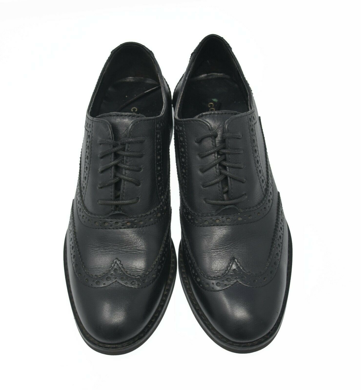 Cole Haan Womens Sz 5.5B Black Leather Lace Up Oxford Wingtip Brogue Dress Shoes