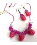 Vintage Hong Kong Plastic Pink Fruit Necklace Earrings Apples flowers NOS - $19.79