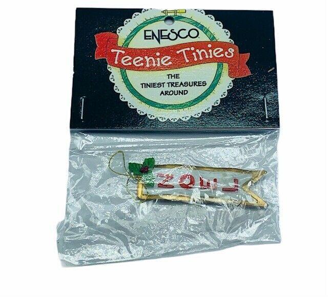 Enesco Teenie Tinies Treasure SEALED miniature figurine ornament Noel banner '98 - $16.35