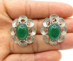 925 Silver - Vintage Antique Cabochon Cut Green Carnelian Stud Earrings ... - $47.05
