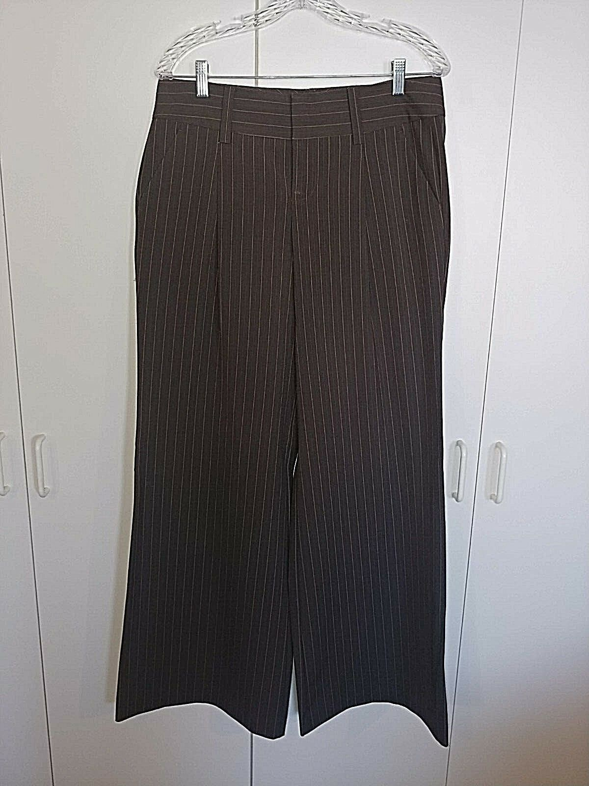"Primary image for BODY BY VICTORIA ""THE EVA FIT"" LADIES WIDE LEG BROWN PINSTRIPE STRETCH PANTS-8T"
