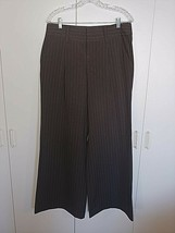 "BODY BY VICTORIA ""THE EVA FIT"" LADIES WIDE LEG BROWN PINSTRIPE STRETCH P... - $5.99"