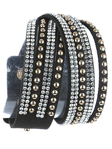 Rhinestone and Goldtone Studded Wrap Around Bracelet Black