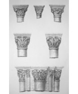 FRANCE Cathedral at Sens Early Gothic Capitals - SUPERB 1843 Antique Print - $18.00