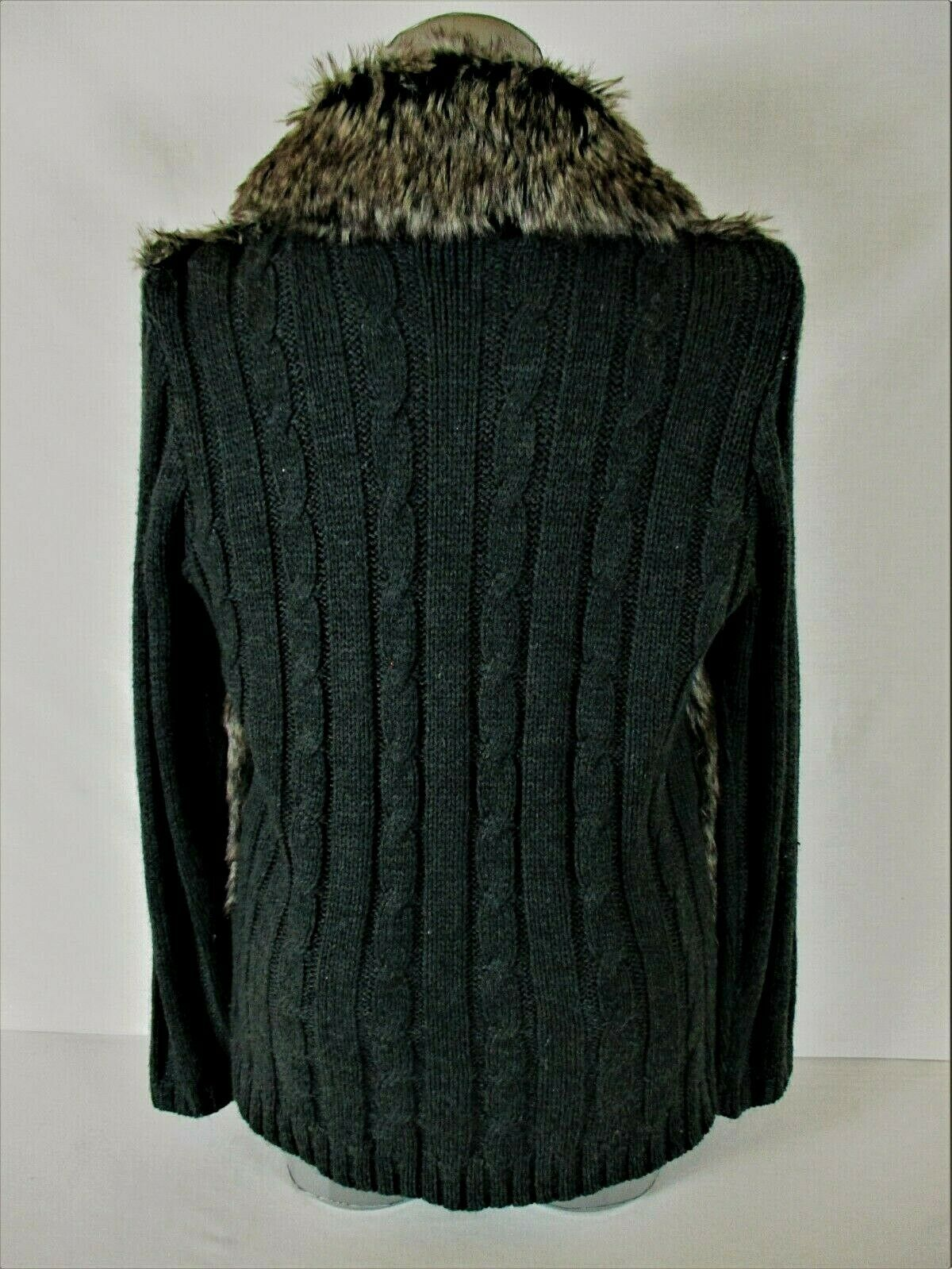 JOSEPH  A. womens Medium L/S brown black FAUX FUR open front sweater jacket B3)